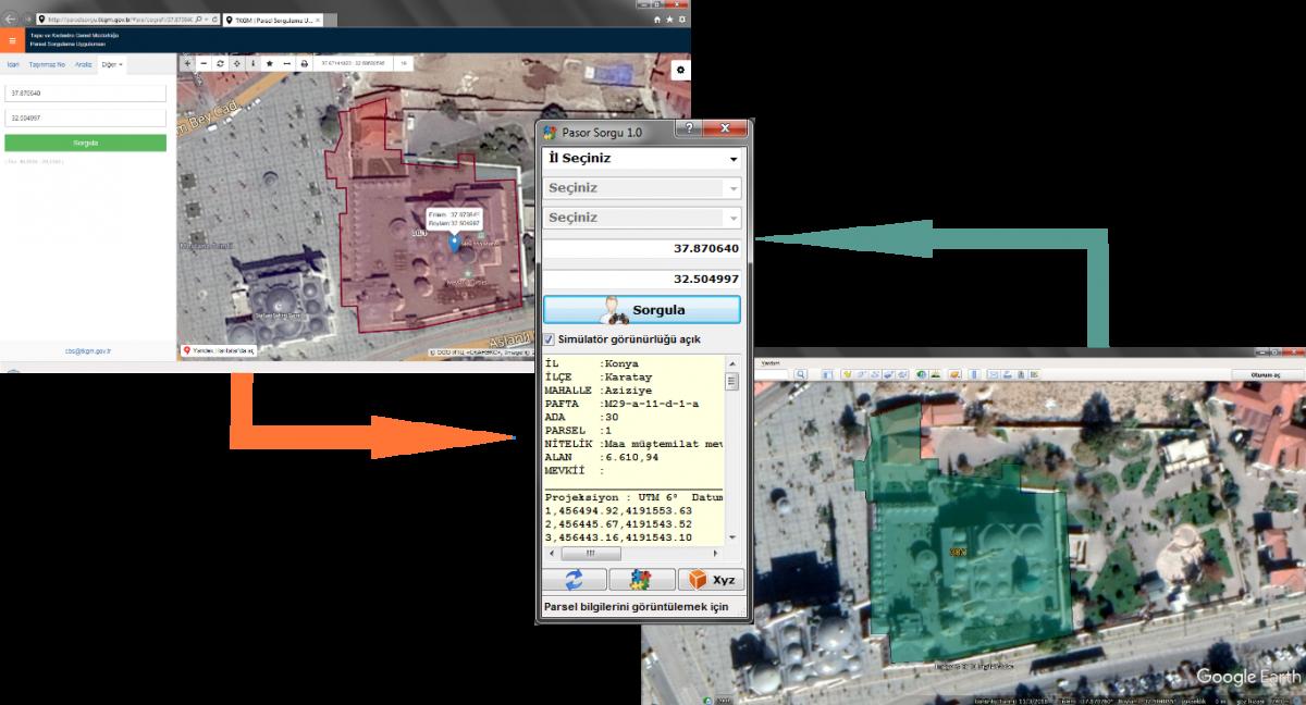 Parsel Sorgu, Google Earth Bağlantı Yöneticisi PASOR